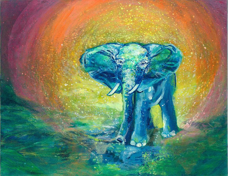 Elephant Painting - Bathe Me In Thy Light by Ashleigh Dyan Bayer
