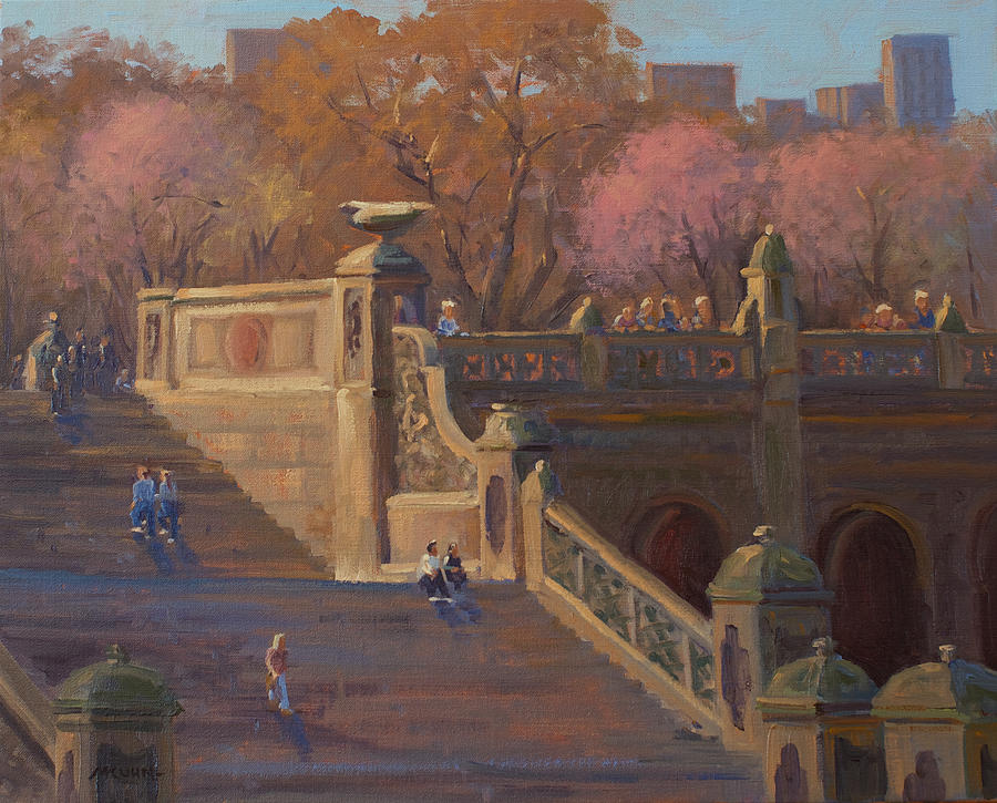 Central Park Painting - Bathesda Stairway Central Park by Marianne Kuhn
