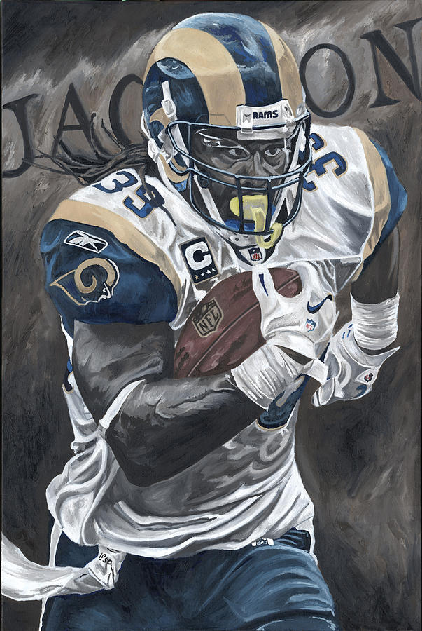 Steven Jackson St Louis Rams Running Back Sports Art David Courson Football Nfl Painting - Battering Ram by David Courson