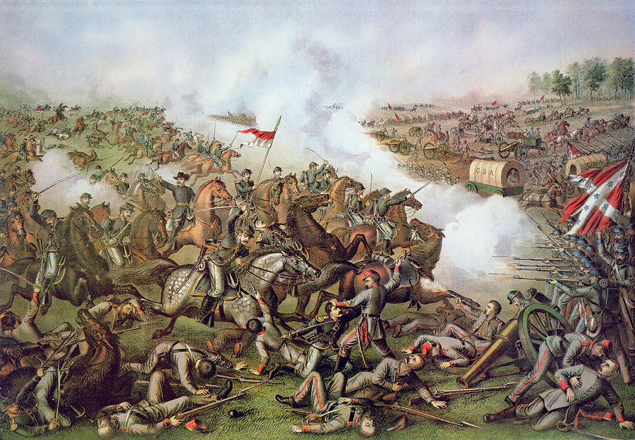 Battle Of Five Forks Painting - Battle Of Five Forks Virginia 1st April 1865 by American School