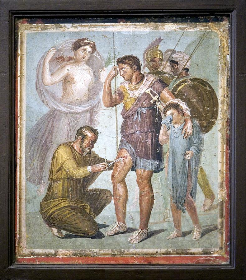 Ascanius Photograph - Battle Wounds Of Aeneas, Roman Fresco by Sheila Terry