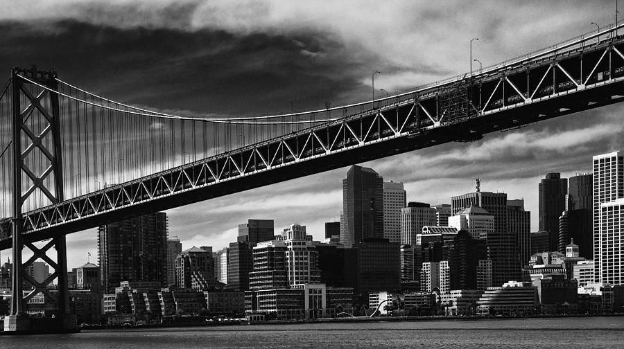 Sunny Photograph - Bay Bridge And Dowtown San Francisco by Laszlo Rekasi
