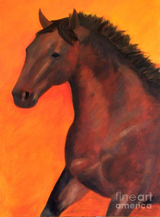 Horse Painting - Bay In Motion by Barbara Cornelius
