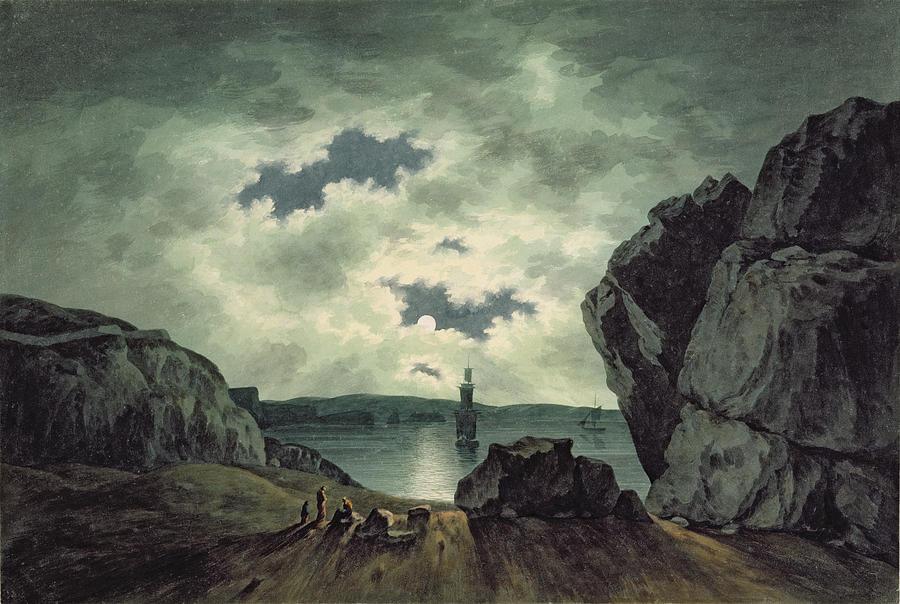 Bay Painting - Bay Scene In Moonlight by John Warwick Smith
