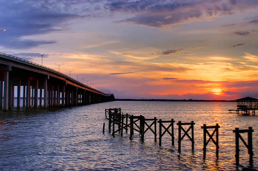 Sun Photograph - Bay St. Louis Sunset by Brian Wright
