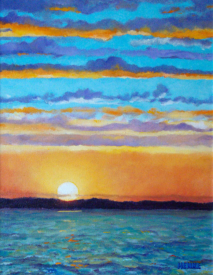 Sunset Painting - Bay Sunset by Robert Henne