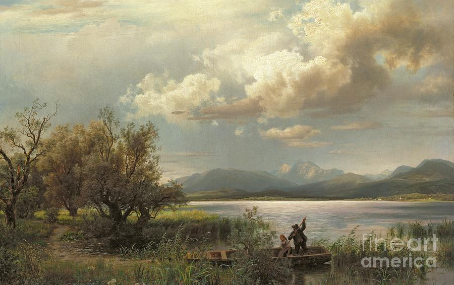 Bayern Landscape Painting - Bayern Landscape by Augustus Wilhelm Leu
