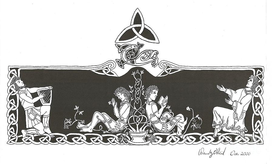 Celtic Drawing - Be Thou My Vision by Wendy ONeil
