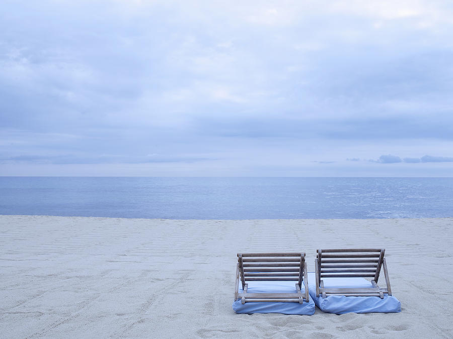 Horizontal Photograph - Beach And Chairs In St Tropez, French Riveira by Ballyscanlon