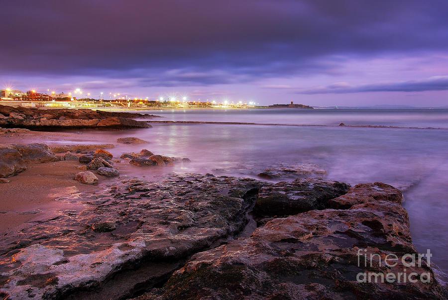 Background Photograph - Beach At Dusk by Carlos Caetano