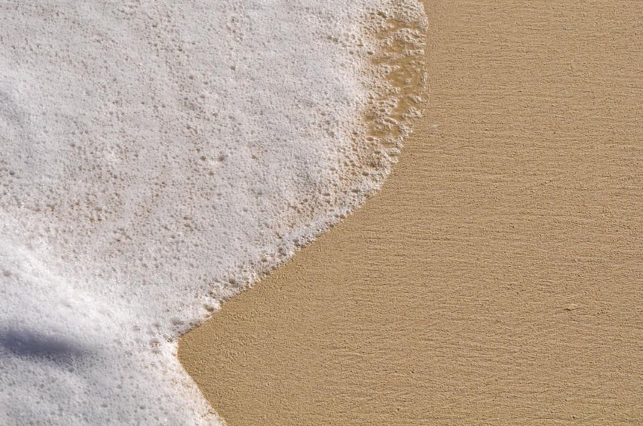 Beach Background With Sand And Foam From The Ocean Sea Photograph By