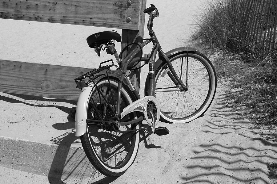 Beach Bike Black And White Photograph By Paulette Thomas