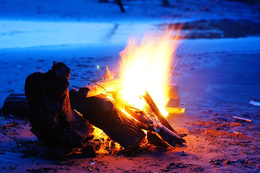 Bonfire Photograph - Beach bonfire by Dennis Faucher