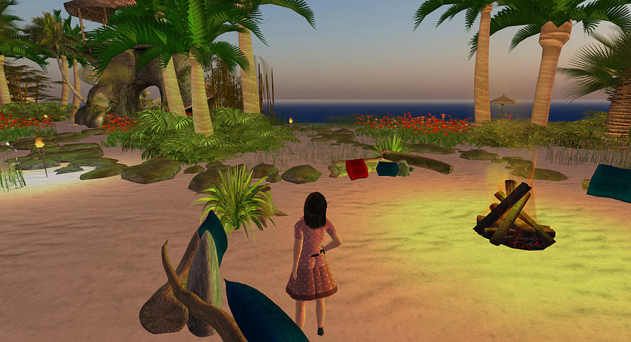 Beach Digital Art - Beach Camp Fire by Amy Bradley