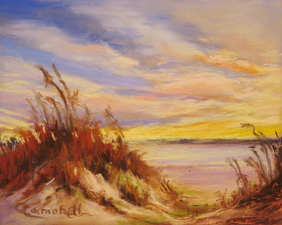 Landscape Painting - Beach Dunes at Dusk by Cecelia Campbell