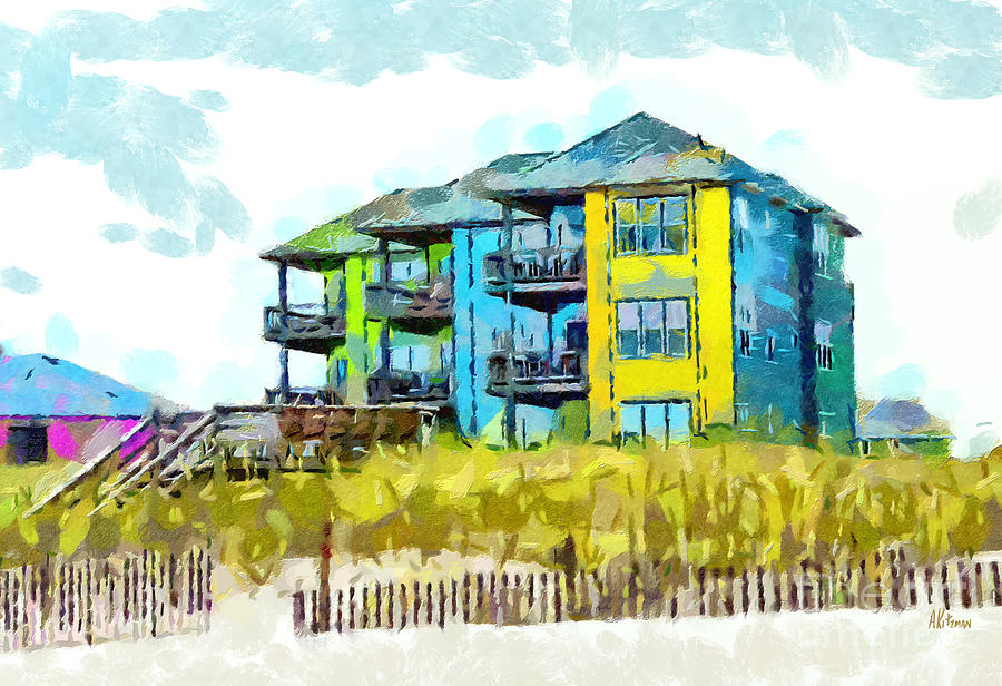 Beach house at the outer banks painting by anne kitzman for Beach house plans outer banks