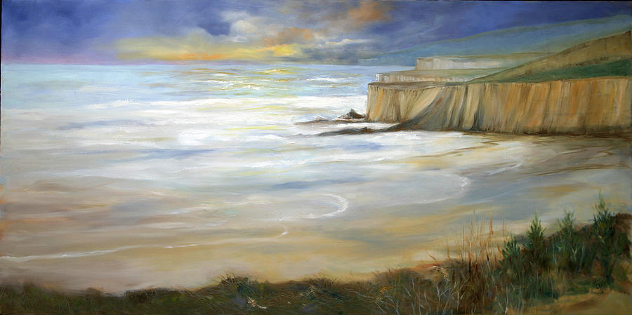 Pacific Ocean Painting - Beach On Highway One by Max Mckenzie