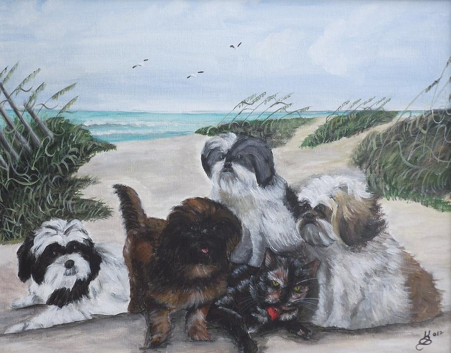 Acrylic Painting - Beach Pals by Kim Selig