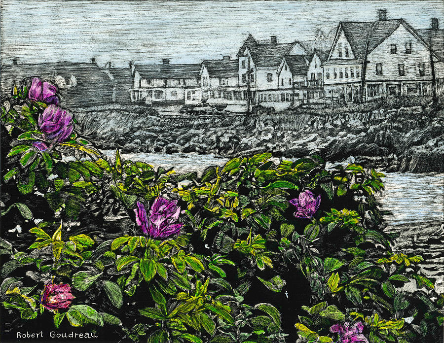 Roses Painting - Beach Roses - Short Sands - York Maine by Robert Goudreau