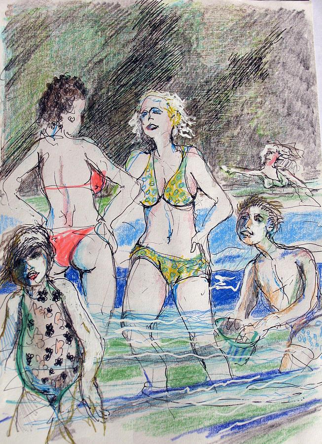 Beach Drawing - Beach Storm by Walter Clark