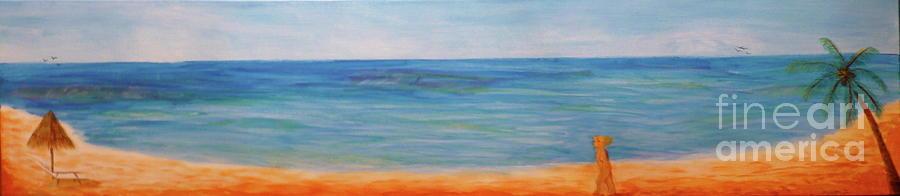Ocean Painting - Beach Walk by Monika Shepherdson