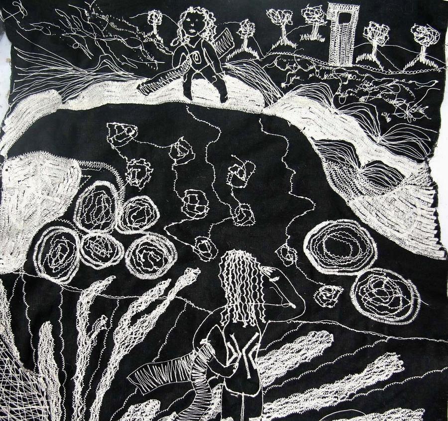 Sewn Art Tapestry - Textile - Beach Walking On Rocks by Karen Elzinga
