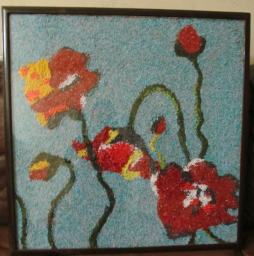 Up For Sale Is A Great Hand Made Beads Painting. Jewelry - Beads Painting by Nabeela Hafeez
