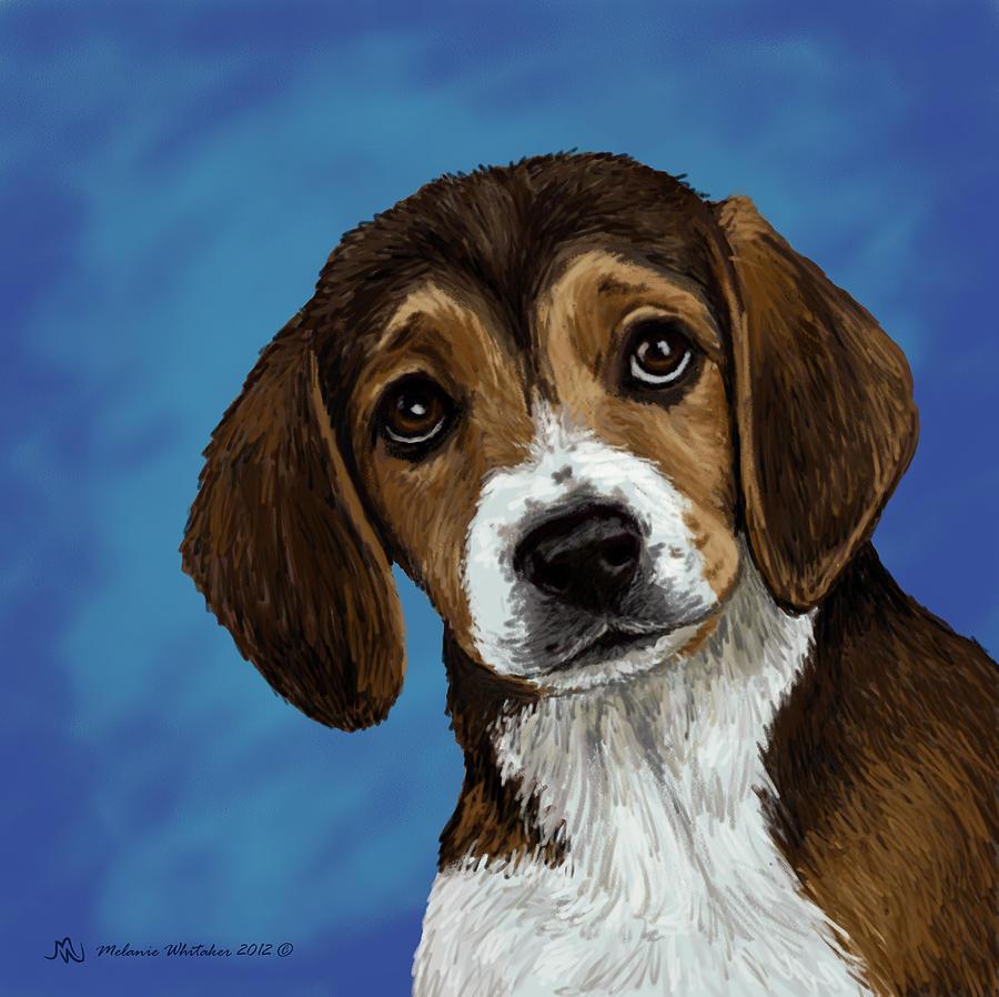 Beagle Painting - Beagle Eyes by Melanie Whitaker