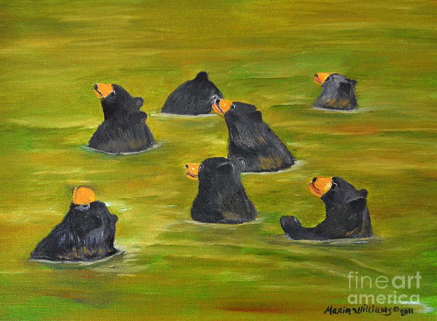 Pond Painting - Bear Bath  by Maria Williams