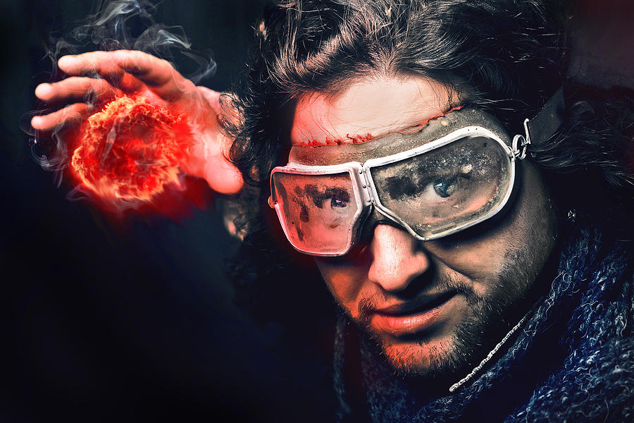 Adult Digital Art - Bearded Emotional Man In Goggles Of Aviation Pilot With Fireball by Kireev Art