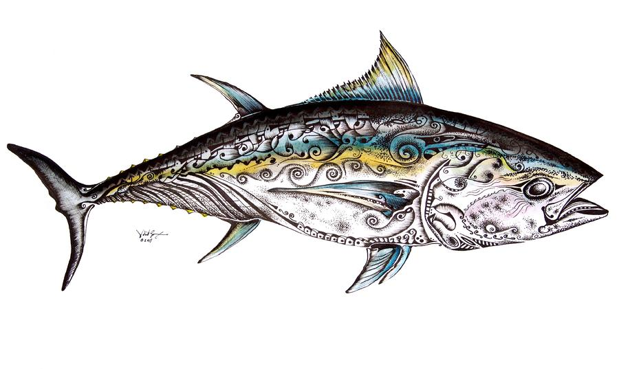 Blue Fin Painting - Beautiful Blue Fin by J Vincent Scarpace
