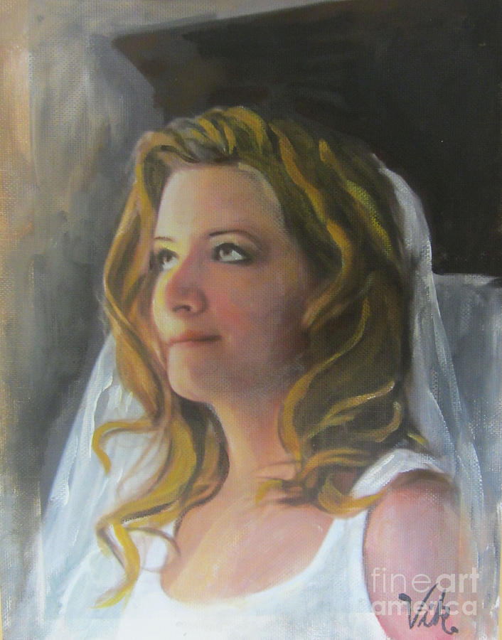 Girl Painting - Beautiful Bride by Lyn Vic