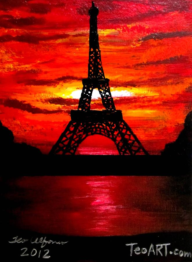 Eiffel Tower Color Pencil Painting