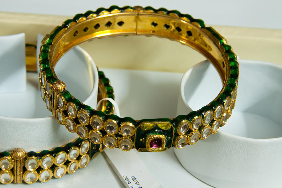 Beautiful Green And Purple Covered Gold Bangles With Semi-precious ...
