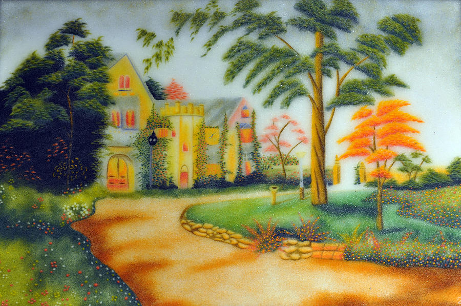 Paintings Painting - Beautiful House by Created by handicap artists