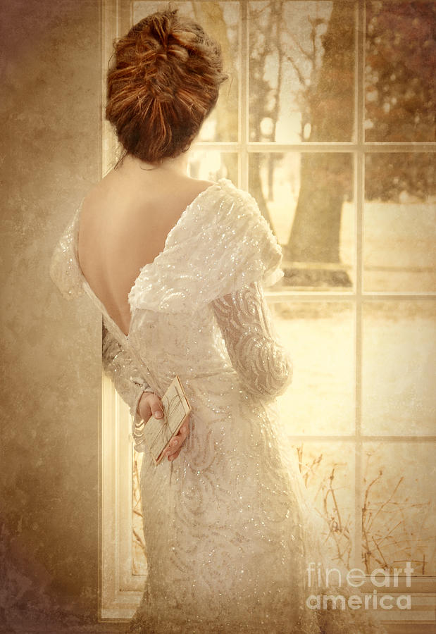 Beautiful Photograph - Beautiful Lady In Sequin Gown Looking Out Window by Jill Battaglia