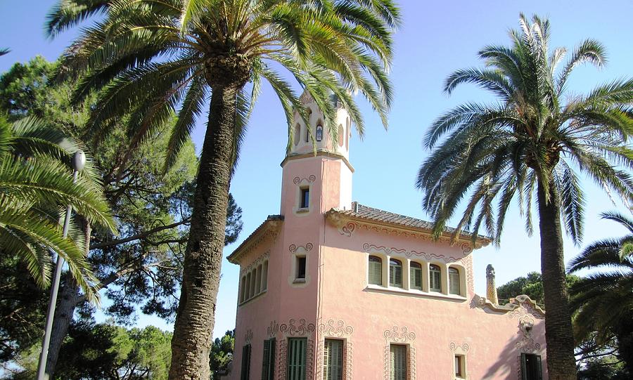 Pink Photograph - Beautiful Pink Architecture And Palm Tree II At Park Guell Barcelona Spain by John Shiron