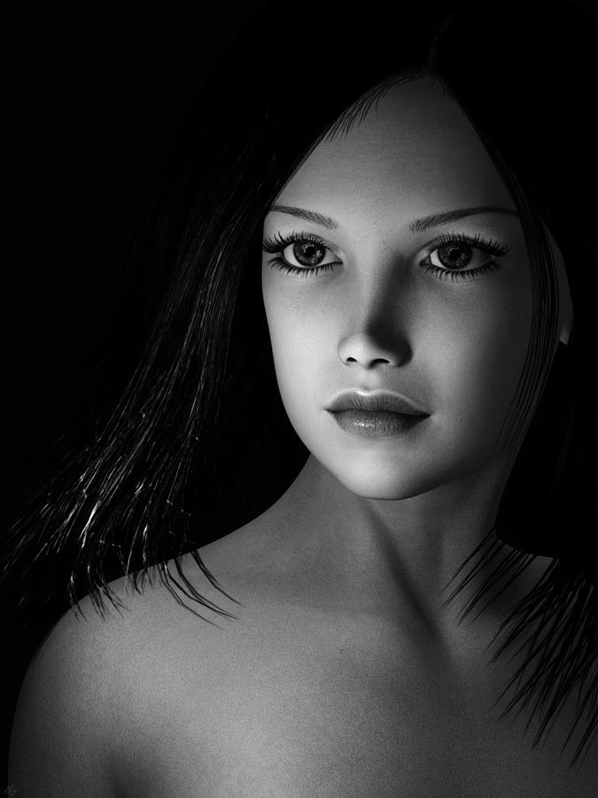 Beautiful Portrait - Black And White Painting by Maynard Ellis