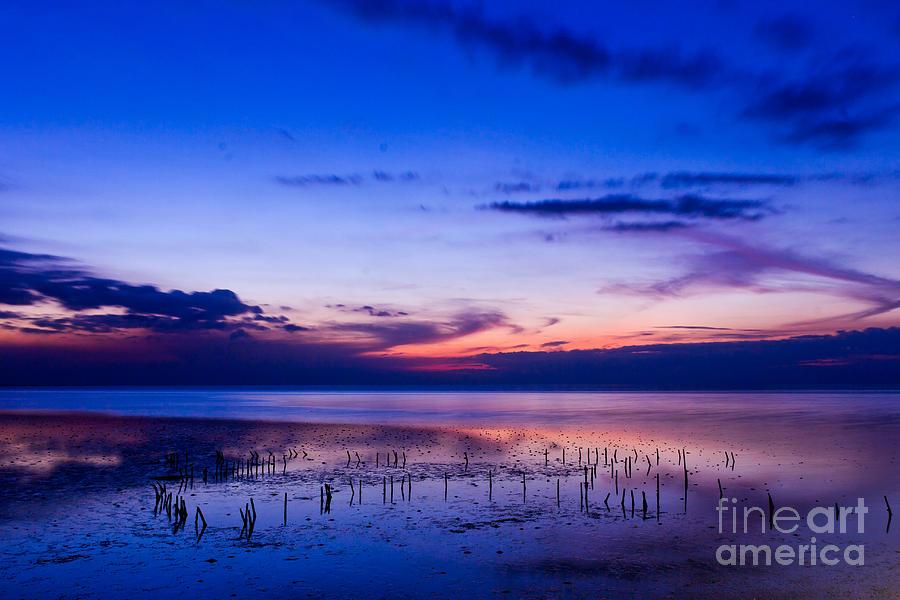 Abstract Photograph - Beautiful Sea In Twilight by Mongkol Chakritthakool