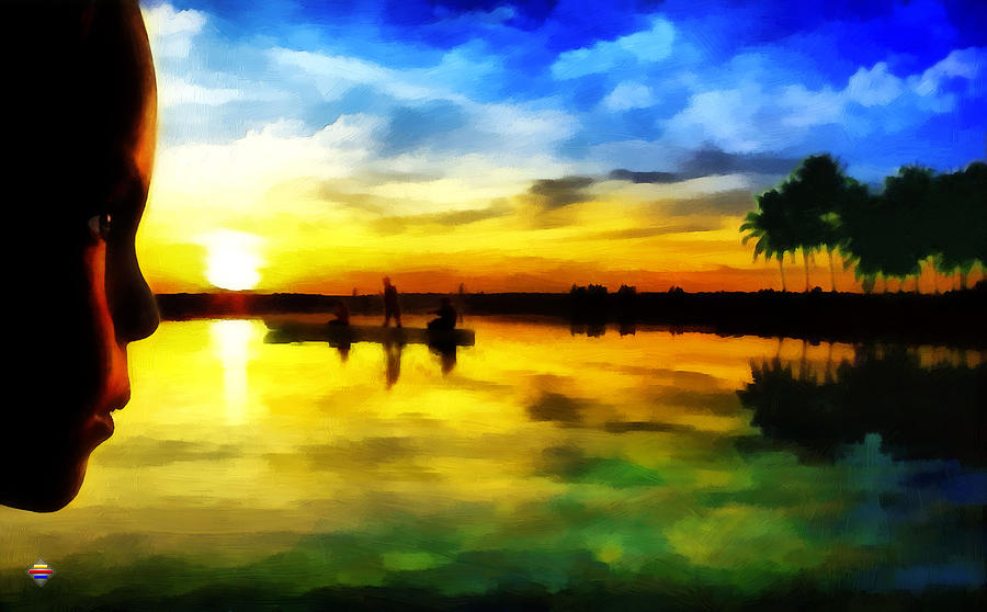 Digital Painting Painting - Beautiful Sunset by Vidka Art