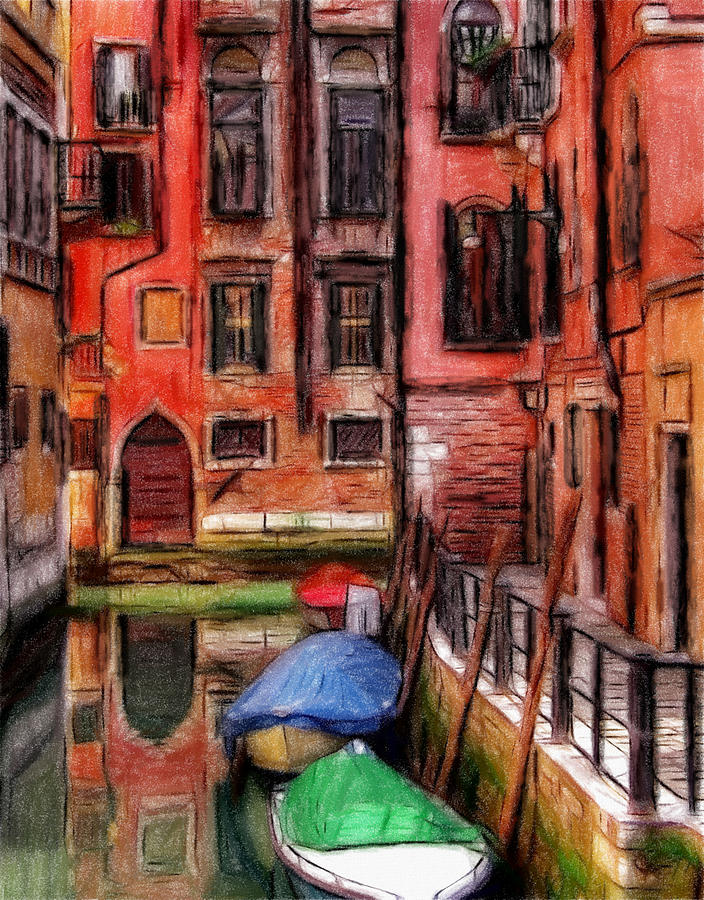 Venice Pastel Pastels Oil Lagoon City Water Reflection Red  Painting Romantic Pastel - Beautiful Venice by Steve K