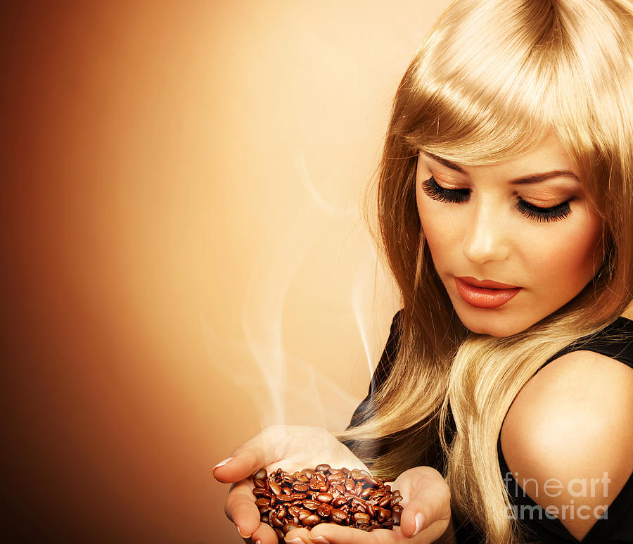 Adult Photograph - Beautiful Woman Holding Coffee Bean by Anna Om
