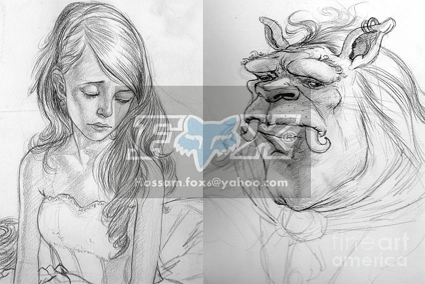 Beauty And The Beast Drawing by Hossam Fox