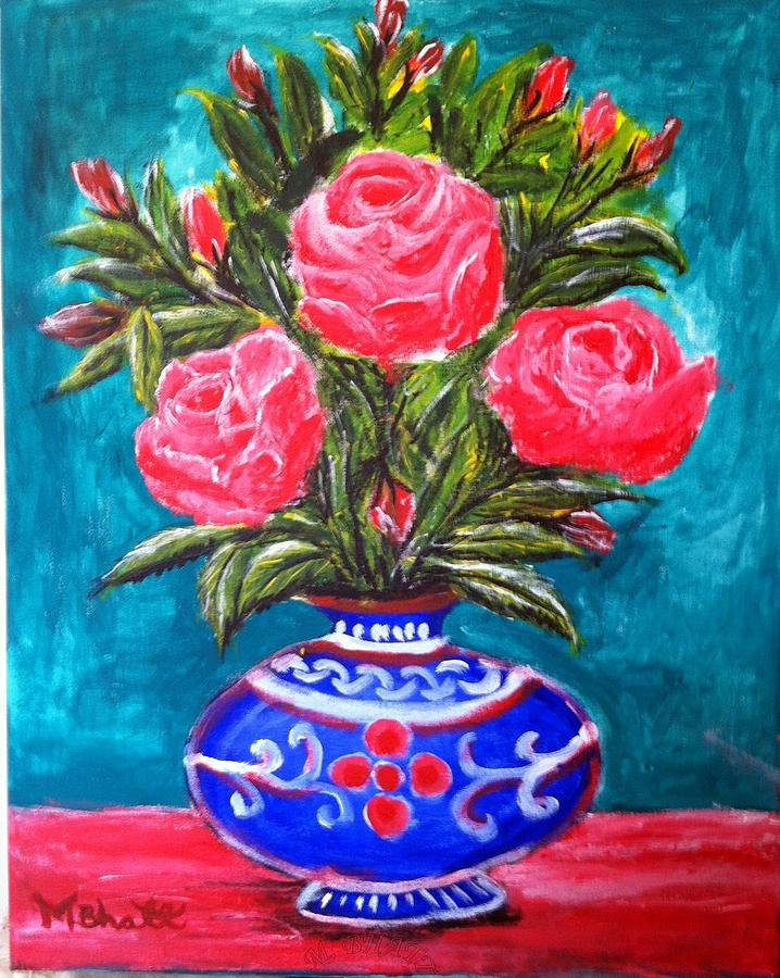 flowers painting beauty of roses and vase by m bhatt - Vase Painting