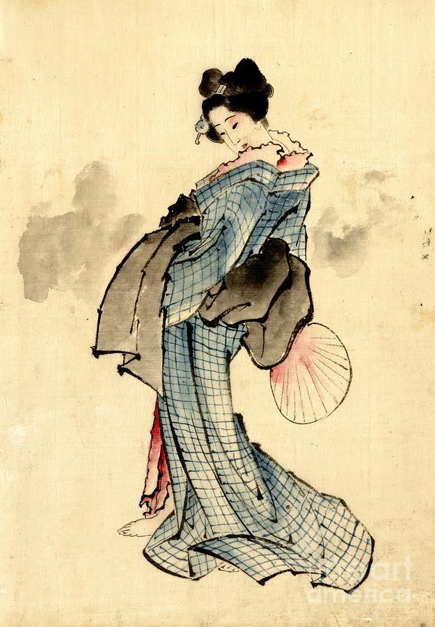Fans Photograph - Beauty With Fan 1840 by Padre Art