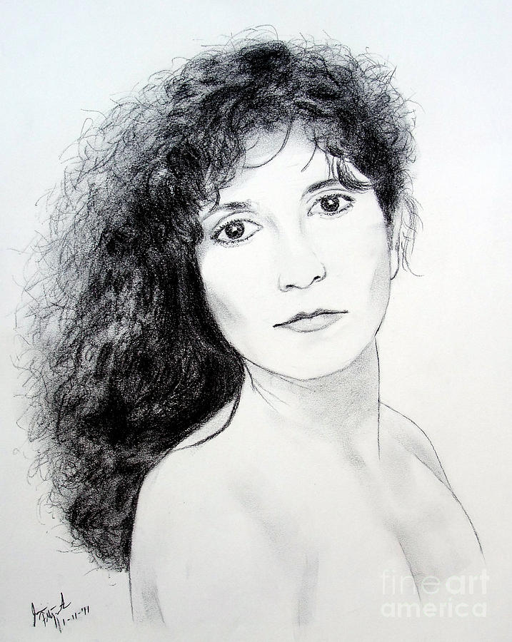 Beauty With Long Curly Hair Drawing by Jim Fitzpatrick