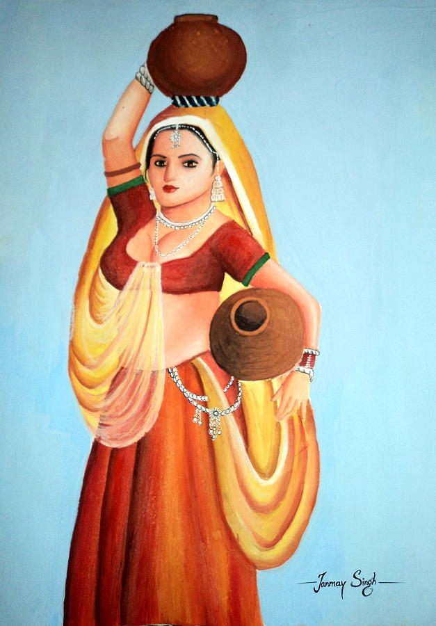 Lady With Water Pot Painting - Beauty With Simplicity by Tanmay Singh