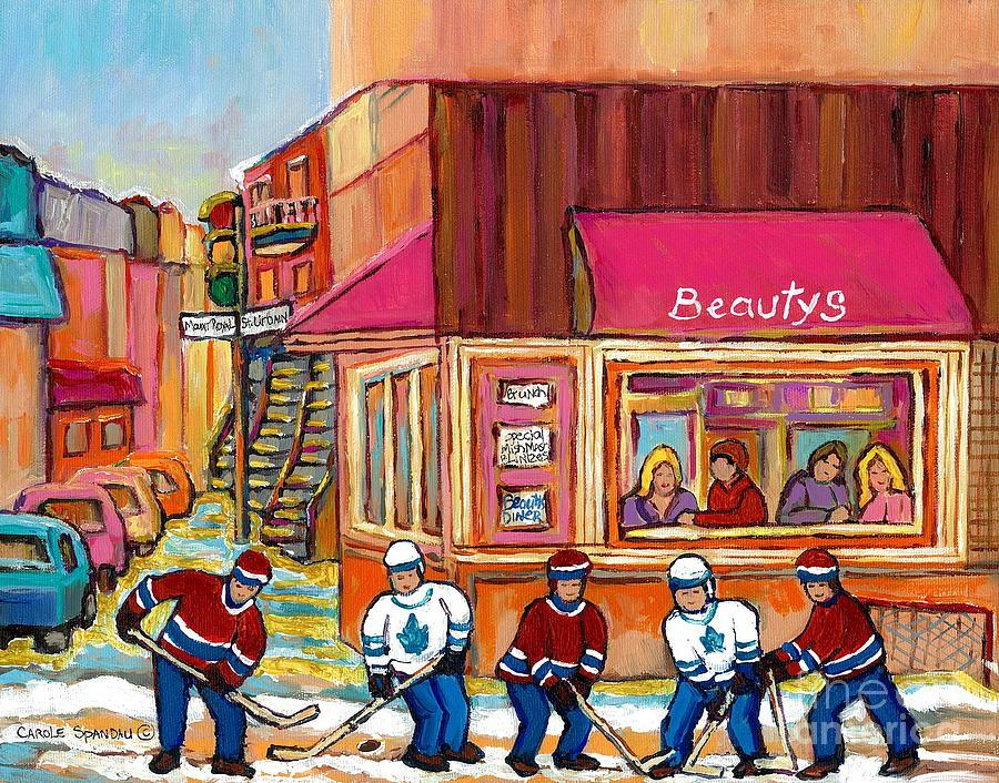 Montreal Painting - Beautys Restaurant-montreal Street Scene Painting-hockey Game-hockeyart by Carole Spandau