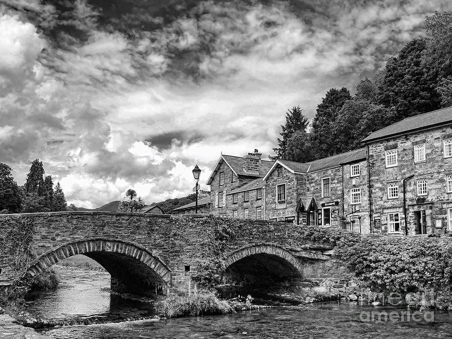 Black And White Photograph - Beddgelert Village 2 by Graham Taylor
