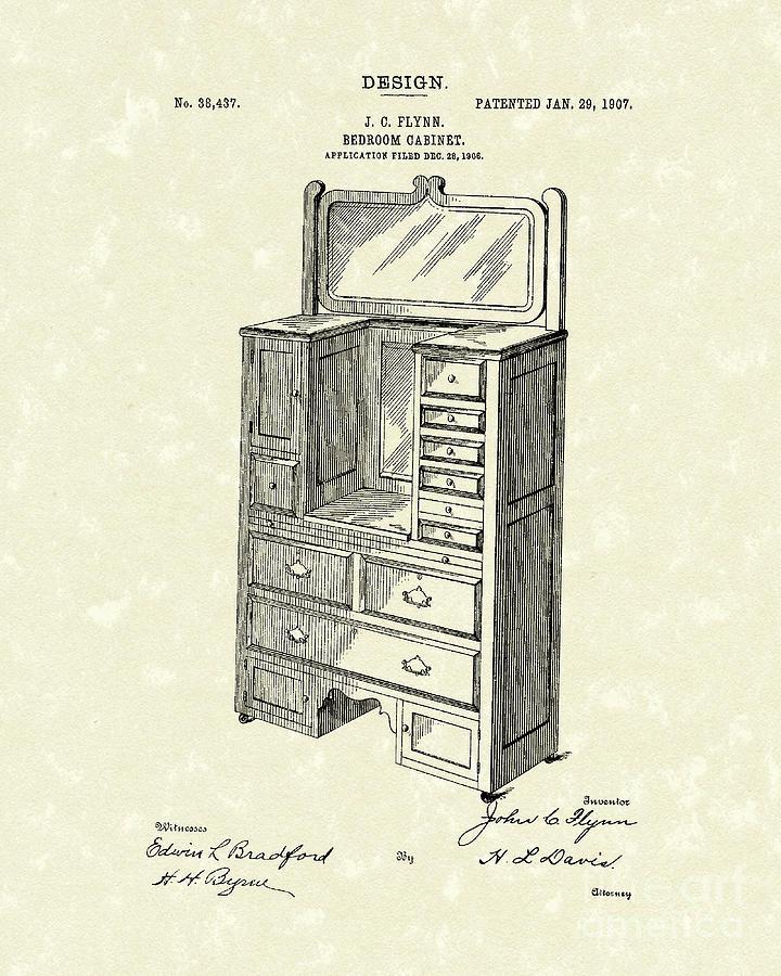 Design Drawing - Bedroom Cabinet Design 1907 Patent Art by Prior Art Design